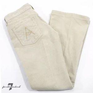 7 FOR ALL MANKIND Cream Corduroy Flare Leg Pants